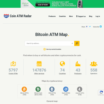 Details : Bitcoin ATM Map - Find Bitcoin ATM, Online Rates