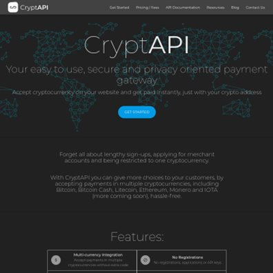 Details : CryptAPI - Bitcoin, Bitcoin Cash, Litecoin, Ethereum, Monero, and IOTA Payment Gateway