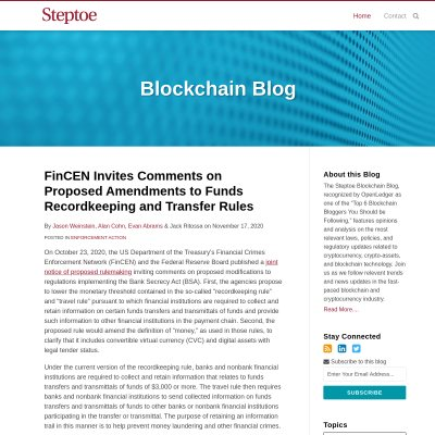 Steptoe & Johnson LLP Blockchain Blog