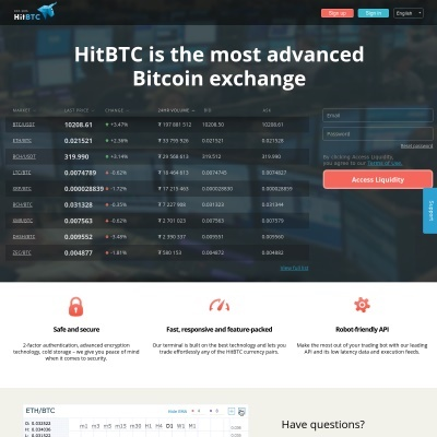 HitBTC Bitcoin Exchange: Bitcoin, Ethereum, Monero, Zcash