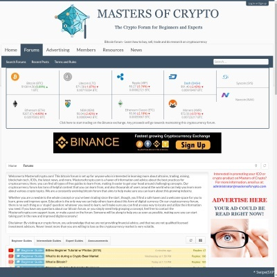 Details : MastersOfCrypto Bitcoin forum - Discuss and Learn About Cryptocurrency